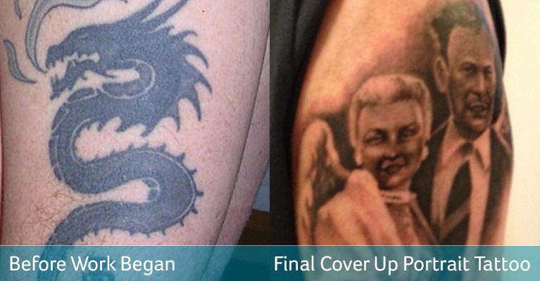 Before after from dragon tattoo removal to portrait cover up
